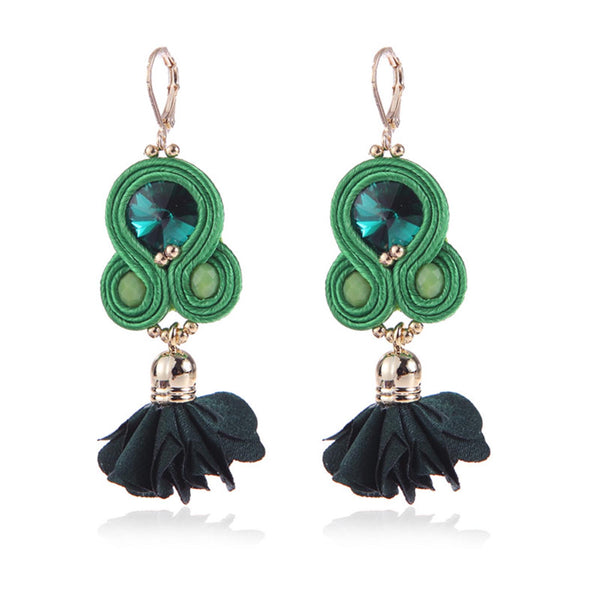 Handmade Soutache Long Hanging Earring Jewelry for Women-Green Color