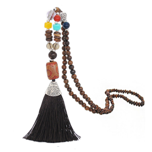 Women's Retro Ethnic Style Handmade Beaded Pendant Necklace - Brown Tassel