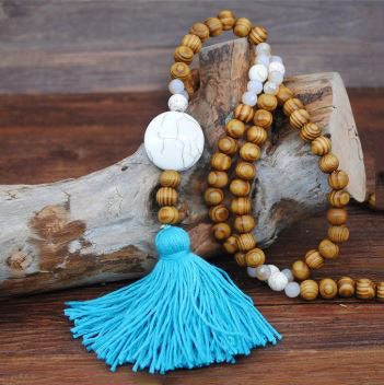 Handmade Wooden Beads Long Necklace & Pendant - Round Shape with Blue Tassel