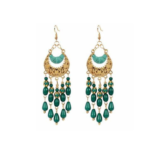 Bohemian Crescent Style Beaded Earrings For Women's Green Color