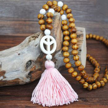 Handmade Wooden Beads Long Necklace & Pendant - Unique Shape with Pink Tassel