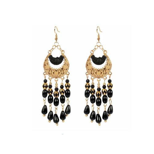Bohemian Crescent Style Beaded Earrings For Women's Black Color
