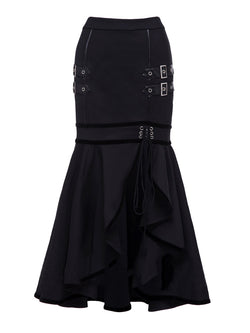 Women Mermaid Gothic Skirts Black Lace Up Ruffle Split Style - Black Color