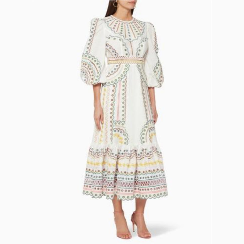 Women's Long sleeves Off White Dress with Multicolor Embroidery 400 Pcs