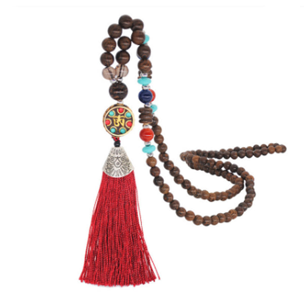 Women's Retro Ethnic Style Handmade Beaded Pendant Necklace - Red Tassel