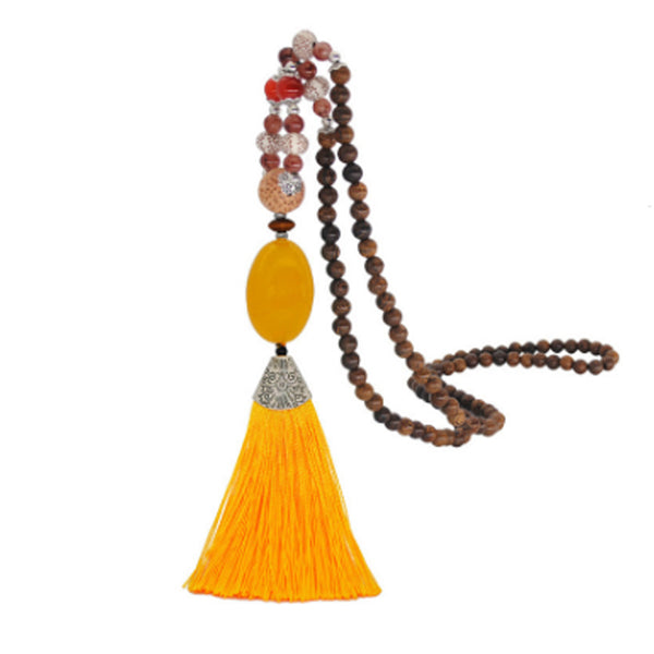 Women's Retro Ethnic Style Handmade Beaded Pendant Necklace - Yellow Tassel