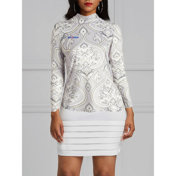 High Neck Long Sleeve Gray Paisley Dress Top