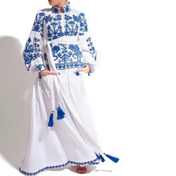 Women's Long sleeves White Dress with Blue Embroidery 12 Pcs