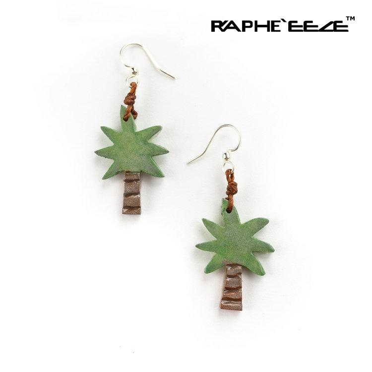 Palm Tree Carved Earrings