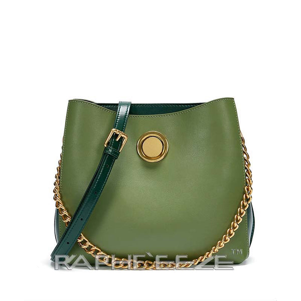 Vintage Style Classic Leather Bag for Woman - Green