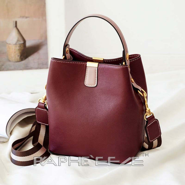 Genuine Leather Tote Bag for Woman - Wine Red