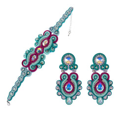 Soutache Leather Drop Earrings Big Hanging Earring Party-Sky Blue Color