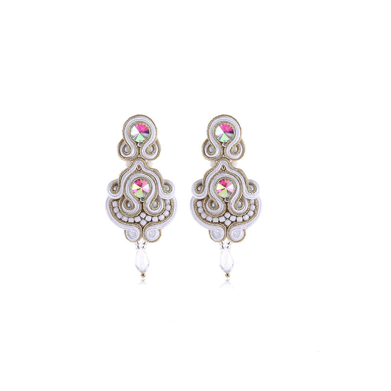 Soutache Rhinestone Ethnic Hanging Drop Earring Jewelry For Women- White Color
