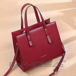 Wine Red colored Tote Bag for Women - Genuine Cow Leather