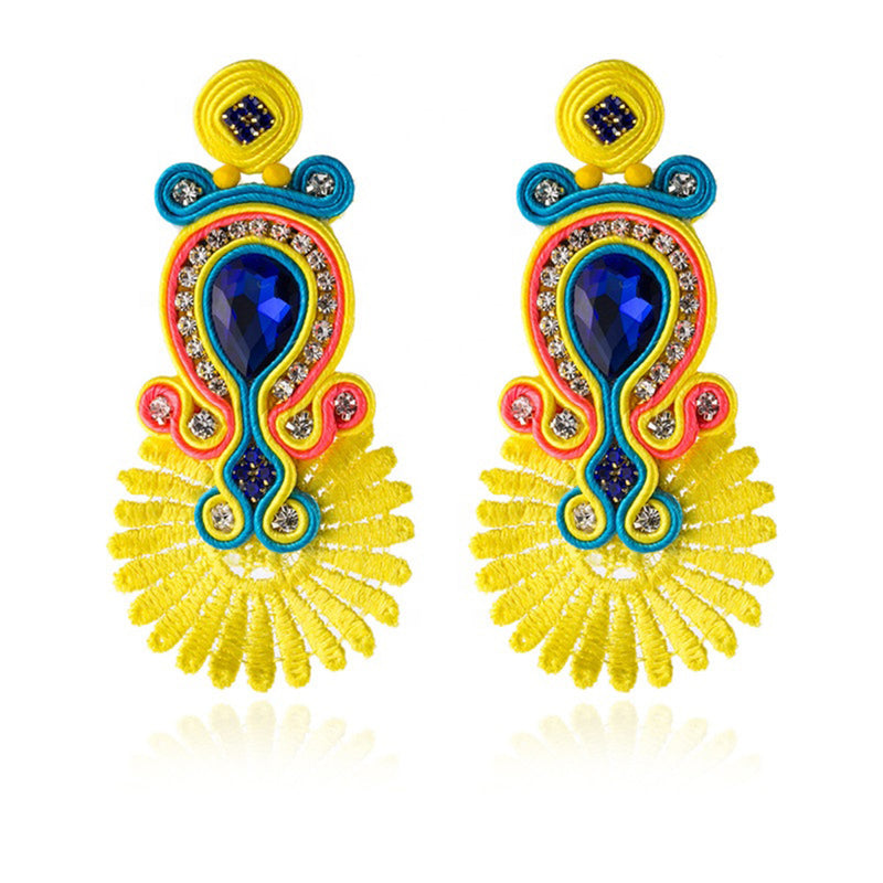 Handmade Soutache Ethnic Earrings for Women with Crystal Decoration Drop Earring- Yellow Color