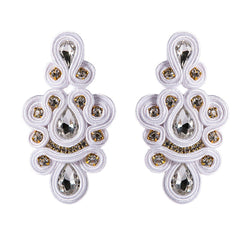 Handmade Soutache Ethnic Style Long Hanging Earrings Jewelry for Women Big Drop Earring -White Color