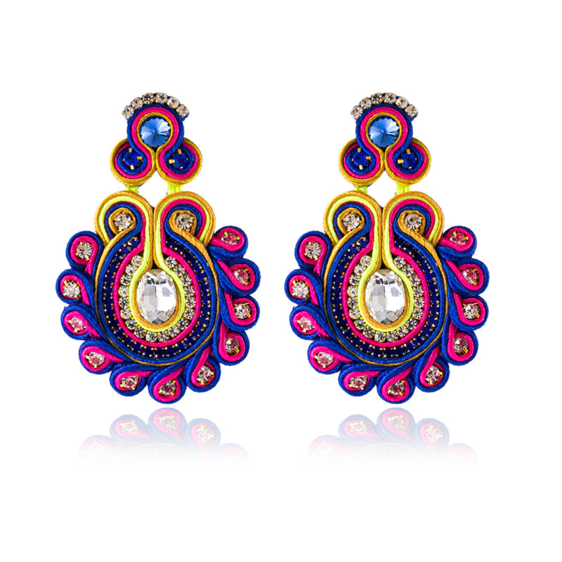 Crystal Decoration Handmade Soutache Drop Earring for Women - Purple Color