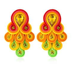 Peacock Tail Shape Soutache Earring for women-Yellow, Red Color