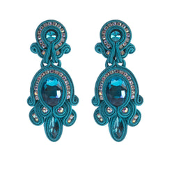Big Hanging Leather Soutache Drop Earrings for Women-Blue Color