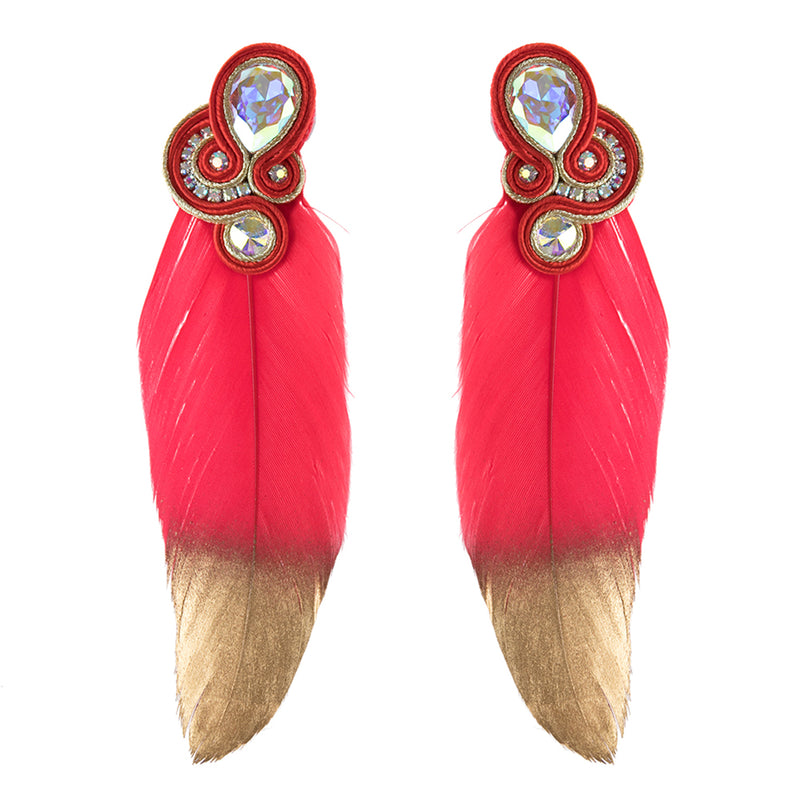 Big feathers shaped Soutache Earrings for Ladies -Pink Color