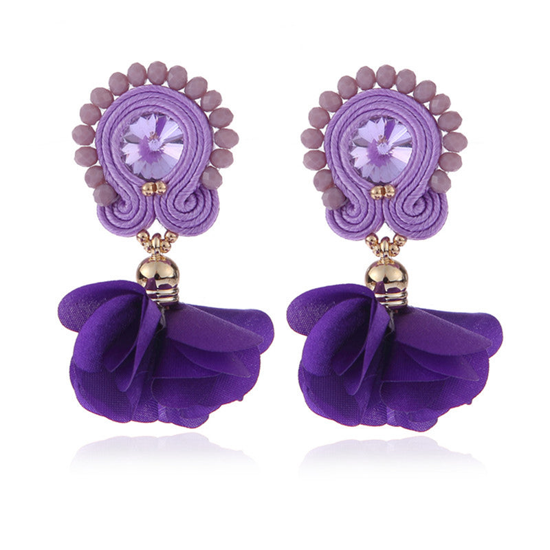 Soutache Big Drop Leather Hanging Earrings Jewelry for Women-Purple Color