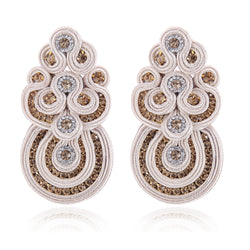 Big Drop Crystal Decoration Handmade Soutache Earring for female