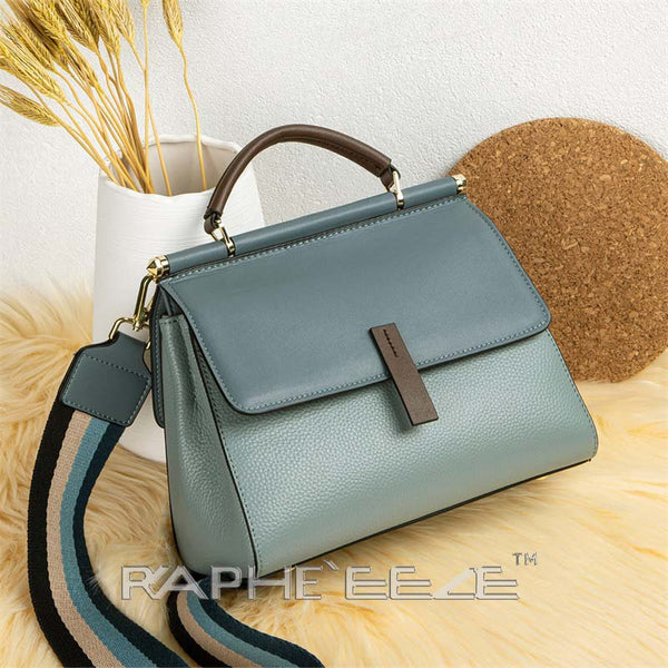 Genuine Cow Leather Italian Tote Bag for Women - Blue