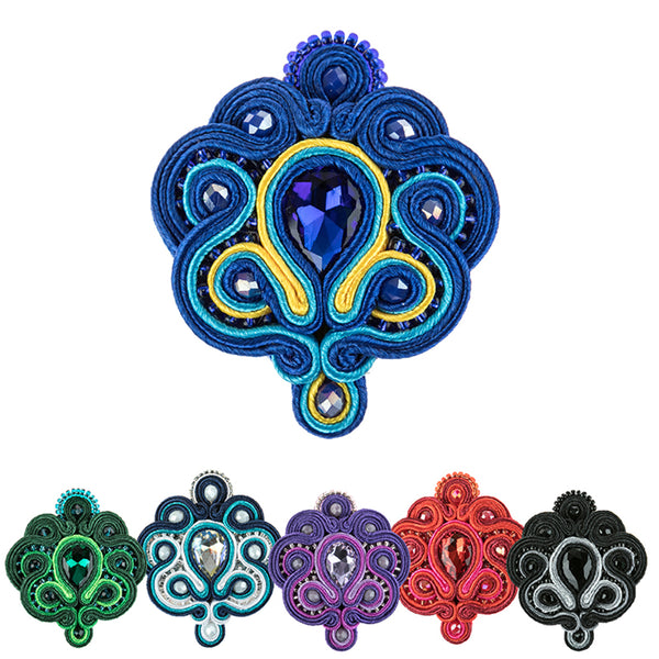 Soutache Brooch Pin Dress Coat Chic for females-Blue Color