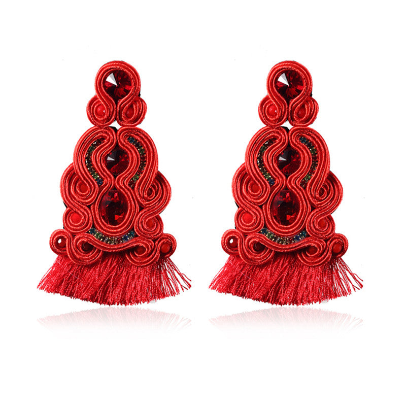 Ethnic Style Leather Soutache Earrings For Women- Red Color