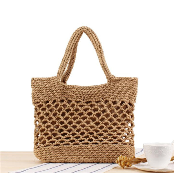 Women's Cotton Rope Brown Handbag Hollow Out Beach Straw tote Bag