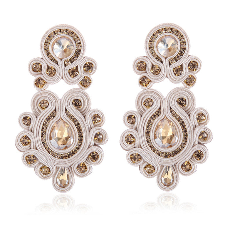 Tassel Hanging Ethnic Style Handmade Soutache Earrings for Women