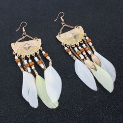Bohemian Crescent Style Beaded Earrings For Women's Retro Long White Tassel