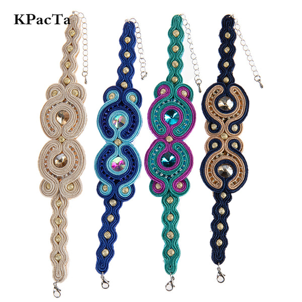 Crystal decoration Soutache Ethnic Style Leather Bracelet for Women- Blue Color