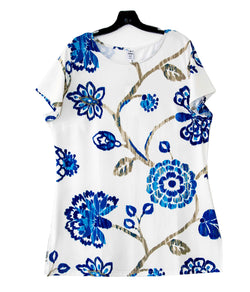 Floral Print Tops Blouse Round Neck Short Sleeve T-Shirt