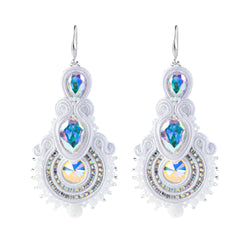 Big Hanging Earring Soutache Leather Drop Earrings for women-White Color