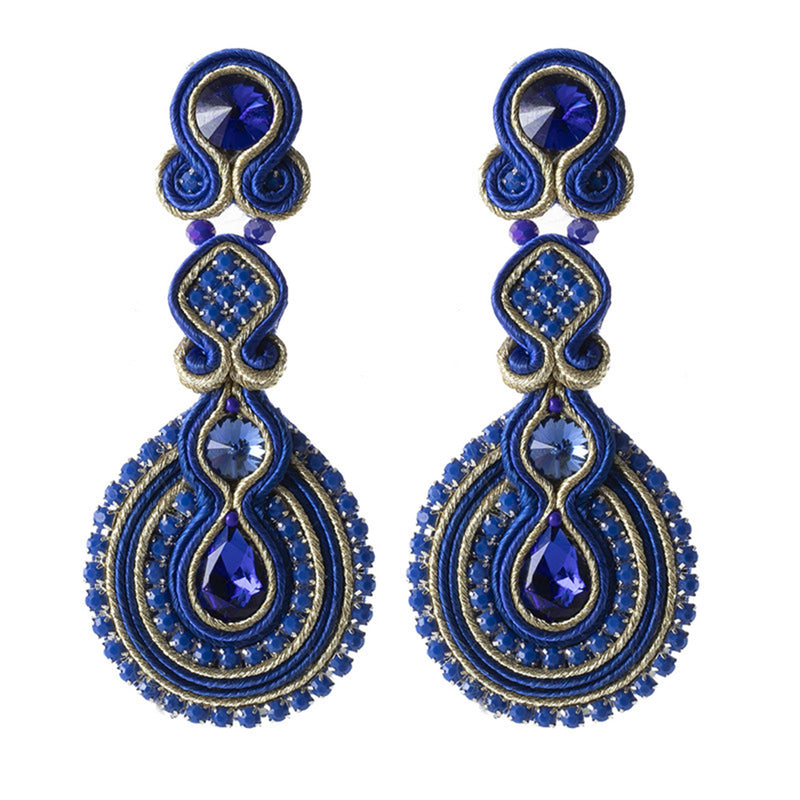Female Soutache Ethnic Style Drop Earrings-Blue Color