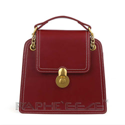 Vintage Style Classic Leather Bag for Woman - Red Wine