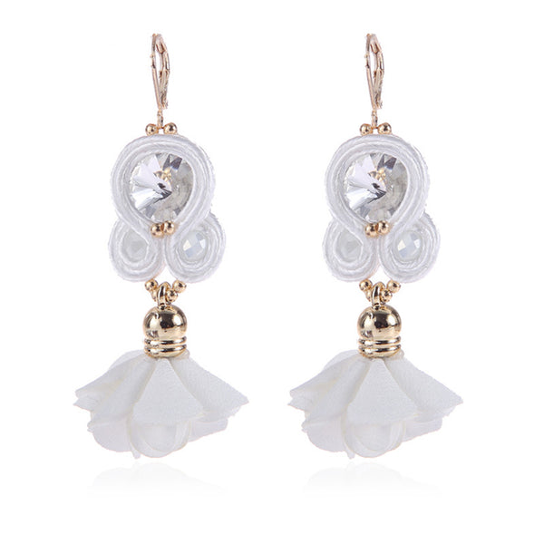 Handmade Soutache Long Hanging Earring Jewelry for Women-White Color