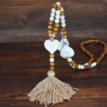 Handmade Wooden Beads Long Necklace & Pendant - Heart Shape with Brown Tassel
