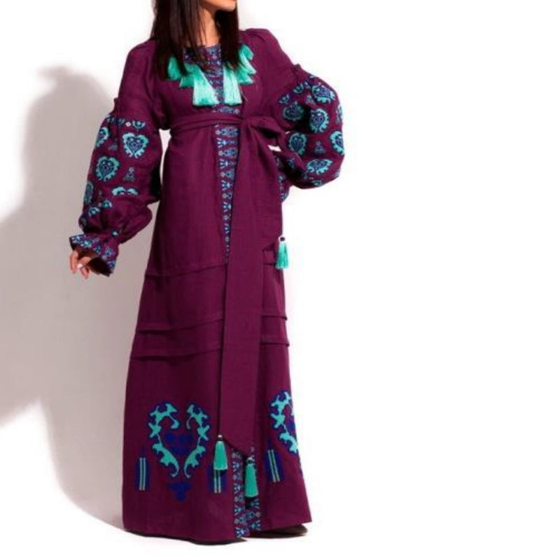 Women's Long sleeves Red Wine Dress with Multicolor Embroidery 400 Pcs