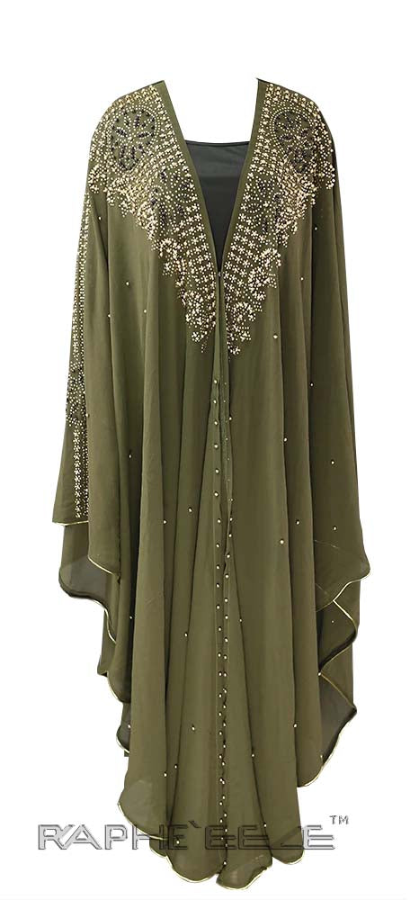 Olive Color Unique Designed Long Party Gown Maxi Style - 1 pcs with S, M, L, XL size