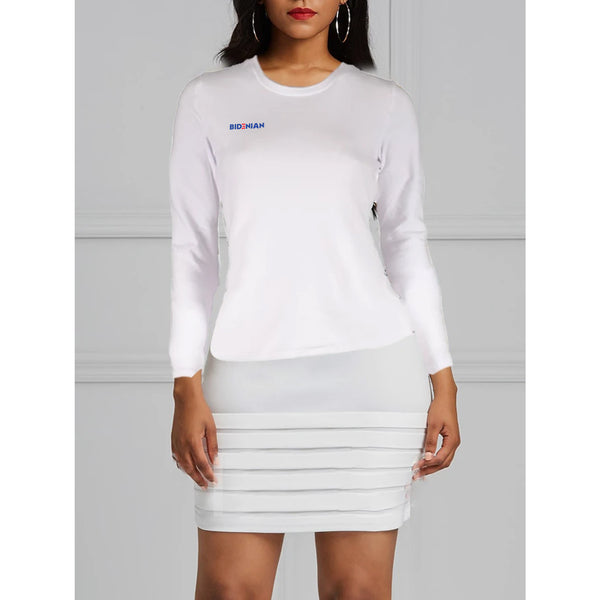 White Cross Logo Long Sleeve UV Dress Top