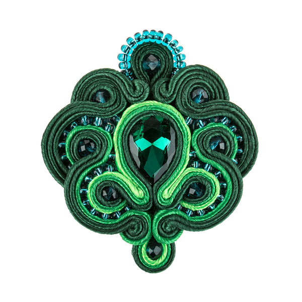 Soutache Brooch Pin Dress Coat Chic for females-Green Color