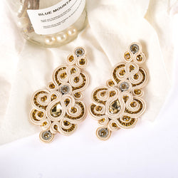 Soutache Handmade Ethnic Crystal Decoration Drop Earring for Women