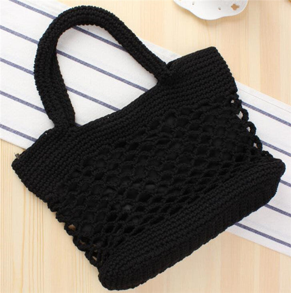 Women's Cotton Rope Black Handbag Hollow Out Beach Straw tote Bag