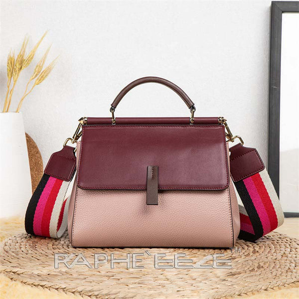Genuine Cow Leather Italian Tote Bag for Women - Wine Red