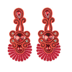 Ethnic Style Leather Rhinestone Retro Soutache Earrings for Female-Red Color