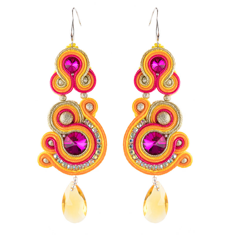 Soutache Crystal Decorative Hanging Earrings for Ladies -Orange Color