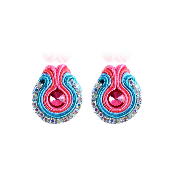 Rapheeze Soutache D Earring for Female Crystal Decoration-Pink Color