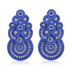 Big Drop Crystal Decoration Handmade Soutache Earring for female-Blue Color